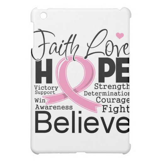 Breast Cancer Typographic Faith Love Hope iPad Mini Covers