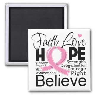 Breast Cancer Typographic Faith Love Hope Fridge Magnet