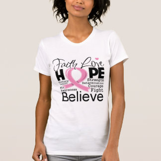 Breast Cancer Typographic Faith Love Hope T-Shirt