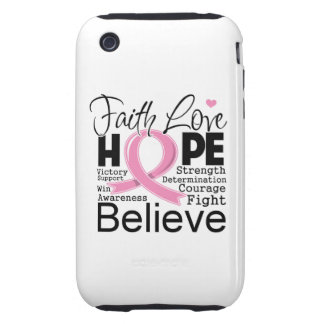Breast Cancer Typographic Faith Love Hope Tough iPhone 3 Case