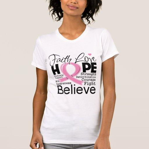 Breast Cancer Typographic Faith Love Hope Tshirt