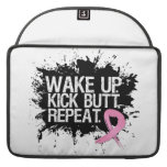 Breast Cancer Wake Up Kick Butt Repeat MacBook Pro Sleeve