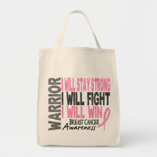 Breast Cancer Warrior Grocery Tote Bag