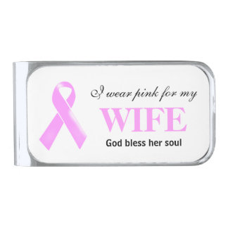 Breast Cancer wife wives | Personalize Silver Finish Money Clip