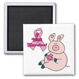 breast cancer will survive pig 2 inch square magnet