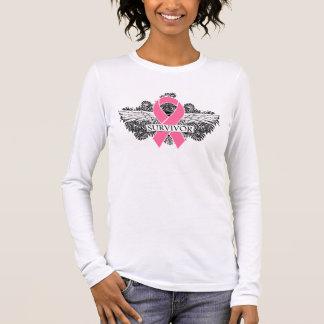 Breast Cancer Winged SURVIVOR Ribbon Long Sleeve T-Shirt