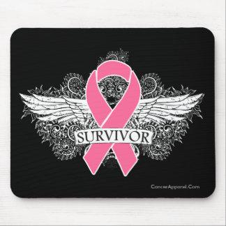 Breast Cancer Winged SURVIVOR Ribbon Mousepads