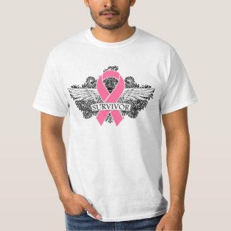 Breast Cancer Winged SURVIVOR Ribbon Tee Shirt