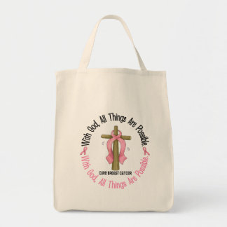 Breast Cancer WITH GOD CROSS 1 Tote Bags