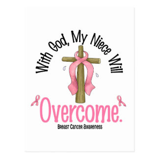 Breast Cancer With God My Niece Will Overcome Postcard