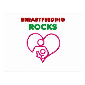 breast feeding rocks, mom with baby postcard