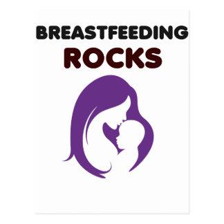 breast feeding rocks postcard