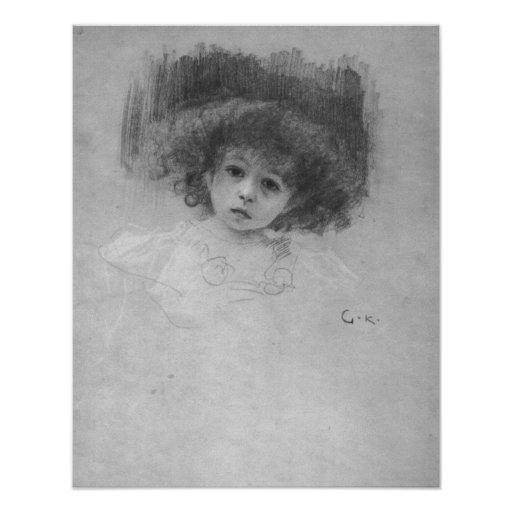 Breast image of a child by Gustav Klimt Poster