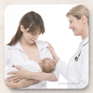 Breastfeeding advice from a doctor beverage coaster