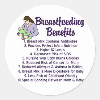Breastfeeding Benefits Classic Round Sticker