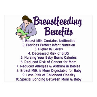 Breastfeeding Benefits Postcard