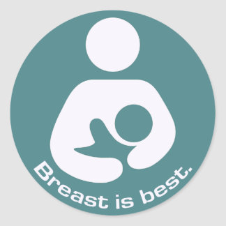 Breastfeeding Icon Breast Is Best Teal Stickers
