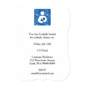 Breastfeeding Icon Letterpress Style Texture 5x7 Paper Invitation Card