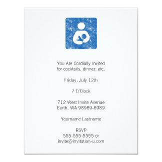 Breastfeeding Icon Letterpress Style Texture 4.25x5.5 Paper Invitation Card