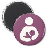 Breastfeeding Icon - Mauve 2 Inch Round Magnet