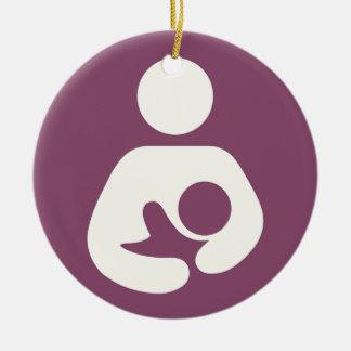 Breastfeeding Icon - Mauve Ceramic Ornament