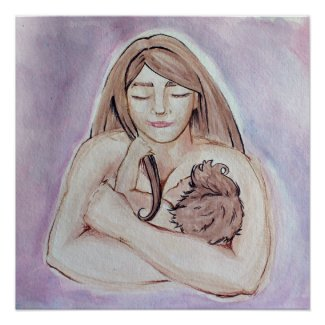 Breastfeeding mother and baby poster
