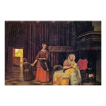 Breastfeeding Mother And Maid And Child By Pieter Print