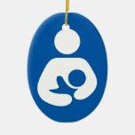 Breastfeeding / Nursing Icon Double-Sided Oval Ceramic Christmas Ornament