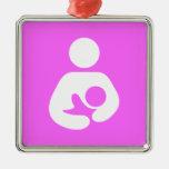 Breastfeeding / Nursing Icon Square Metal Christmas Ornament