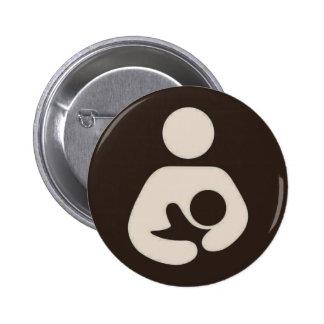 Breastfeeding Symbol Pinback Brown 2 Inch Round Button