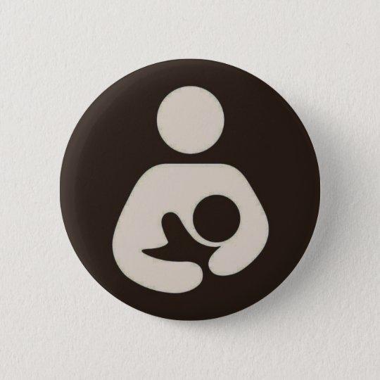 Breastfeeding Symbol Pinback Brown Button