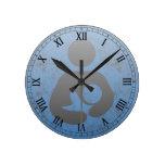 Breastfeeding  Symbol Retro Letterpress style Round Clocks