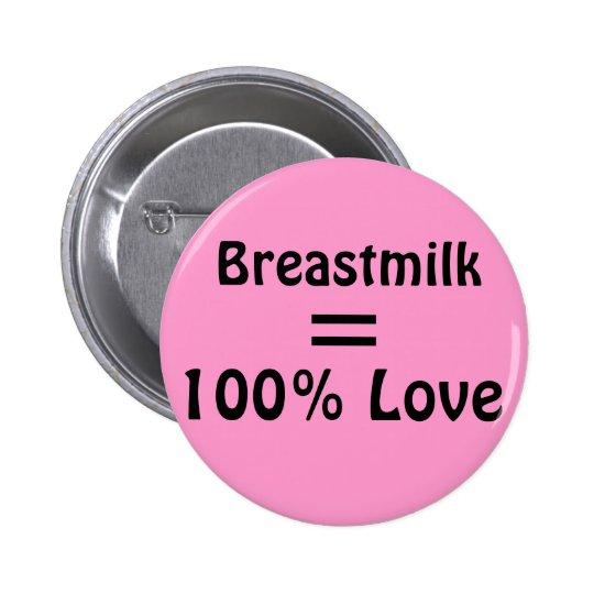 Breastmilk = 100% Love Pinback Button