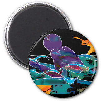 Breaststroke Cutout 2 Inch Round Magnet