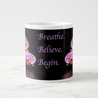 Breathe Believe Begin Purple Phalaenopsis Orchids Large Coffee Mug