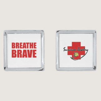 Breathe Brave Cuffs - Survivor Jewelry Silver Cufflinks