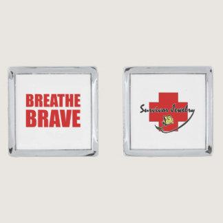 Breathe Brave Cuffs - Survivor Jewelry Silver Cufflinks