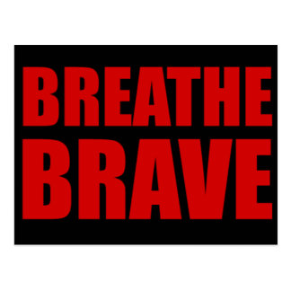 Breathe Brave Red on Black - Survivor Jewelry Postcard