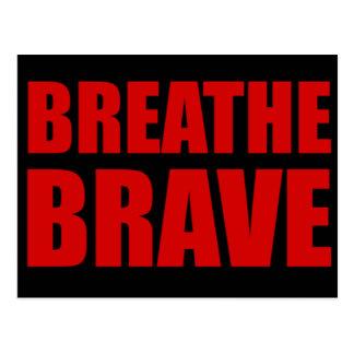 Breathe Brave Red on Black - Survivor Jewelry Postcard