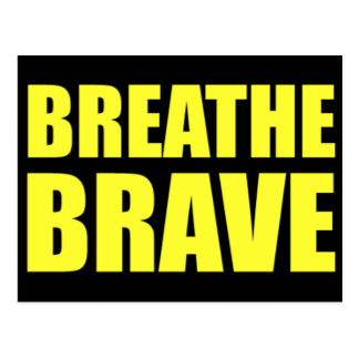 Breathe Brave Yellow on Black - Survivor Jewelry Postcard