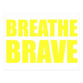 Breathe Brave Yellow - Survivor Jewelry Postcard