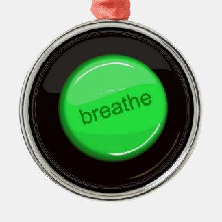 Breathe Button Metal Ornament