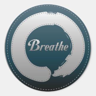 Breathe Enso Stitch Classic Round Sticker