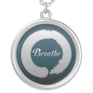 Breathe Enso Stitch Silver Plated Necklace