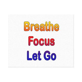Breathe Focus Let Go rainbow gradient Canvas Print