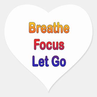 Breathe Focus Let Go rainbow gradient Heart Sticker