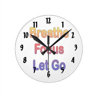 Breathe Focus Let Go rainbow gradient Round Clock