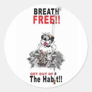 Breathe Free - STOP SMOKING Classic Round Sticker
