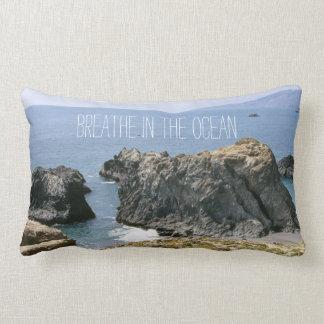 Breathe In The Ocean Air Enjoy Life Quote Lumbar Pillow