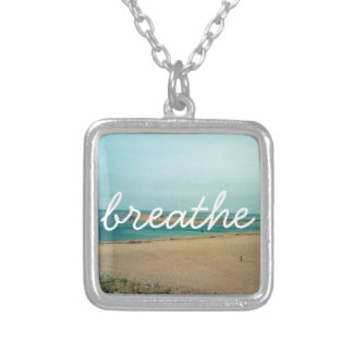 BREATHE mantra over serene beach photo Silver Plated Necklace